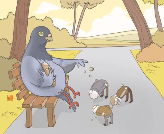 nocturnal-devildeviantartcom-art-pigeon-feeding-105983265